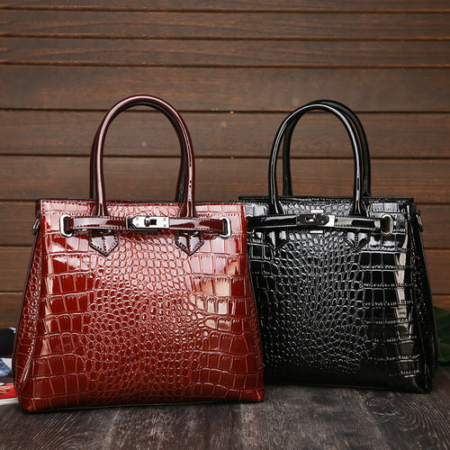 2020 New Fashion Ladies Hand Bag Leather Women Tote With Snakeskin Detail Satchel