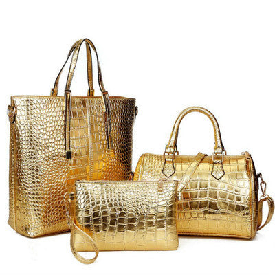 3Pcs Luxury Crocodile Leather Ladies Handbag