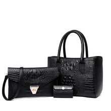 Load image into Gallery viewer, Women's 3 pcs Suit Crocodile Embossed Handbag