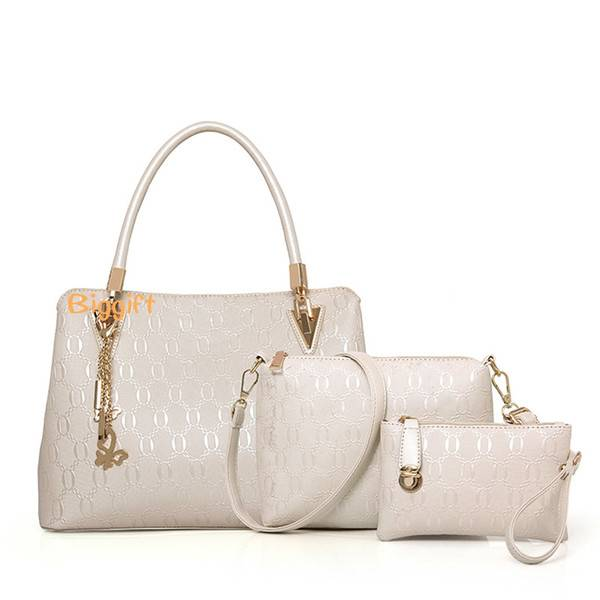 Little Sun Three pcs of a set Fashionable embossing female bags