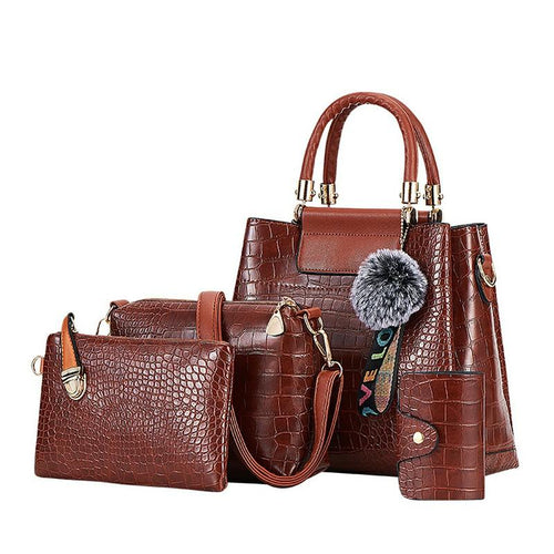 New Crocodile Pattern Casual Tote Bag with Free Clutch Satchel and Wallet