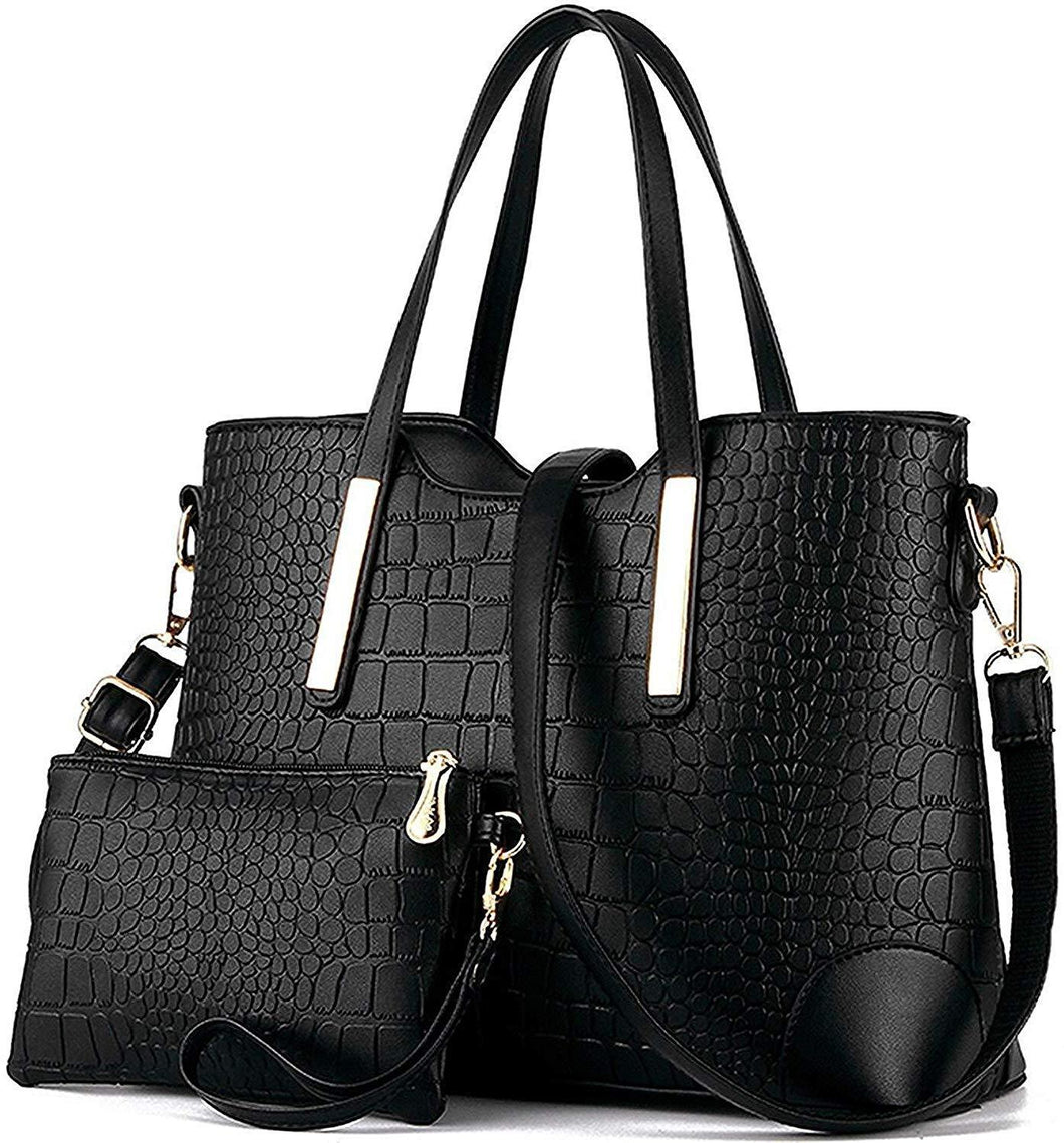 2020 Fashion Crocodile Embossed Leather Tote Bags with Free Wallet