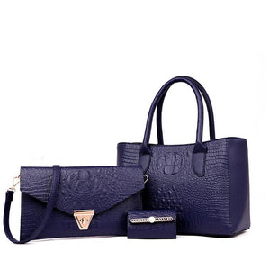 Women's 3 pcs Suit Crocodile Embossed Handbag