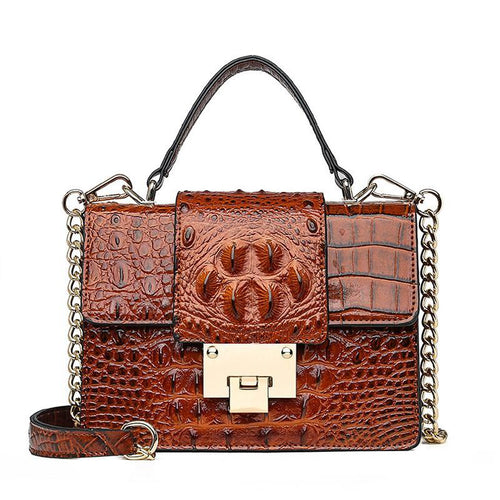 3D Crocodile Pattern Ladies Casual Chain Tote Handbag