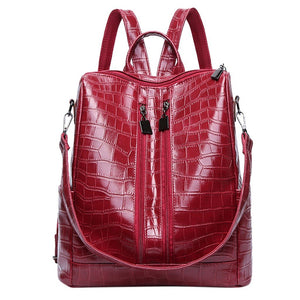 Women Crocodile PU Leather Shoulder Bag Classic Anti-theft Backpack Female Vintage School Bag Travel Bagpack Ladies Mochilas