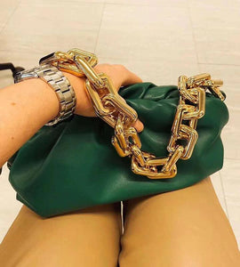 Phoenixswan Women 2020 Pure Leather Handbag the Pouch Bag Chain Bag Clutch Bag green