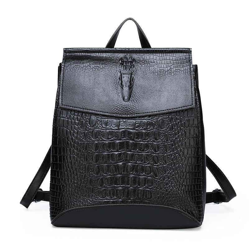 Fashion Lady High Quality Crocodile Embossed Backpack Mochilas 2020