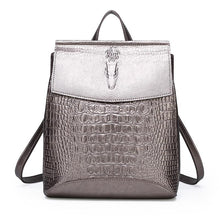 Load image into Gallery viewer, Fashion Lady High Quality Crocodile Embossed Backpack Mochilas 2020