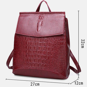 Fashion Lady High Quality Backpack Women Crocodile Pu Leather Female Backpacks Mochila Feminina Rucksack Mochilas Mujer 2020