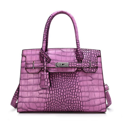 High Capacity Luxury Crocodile Embossed Leather Crossbody Tote Bags
