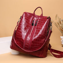Load image into Gallery viewer, Women Crocodile PU Leather Shoulder Bag Classic Anti-theft Backpack Female Vintage School Bag Travel Bagpack Ladies Mochilas