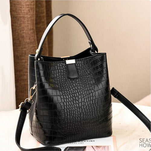 Women Crocodile Leather Bucket Handbag