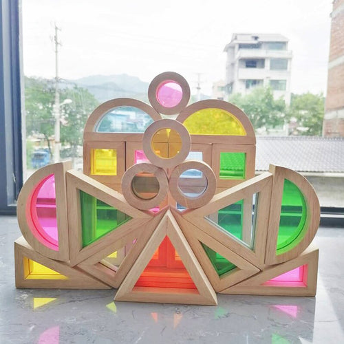 Children's Montessori Stained Glass Building Blocks - Jala & Noor Unique Gardening and Home Products
