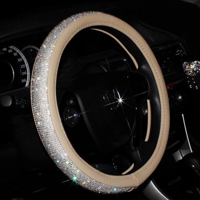 Swarovski-grade Crystal Steering Wheel Cover-Beige - 50% OFF & FREE SHIPPING-YouniGoods