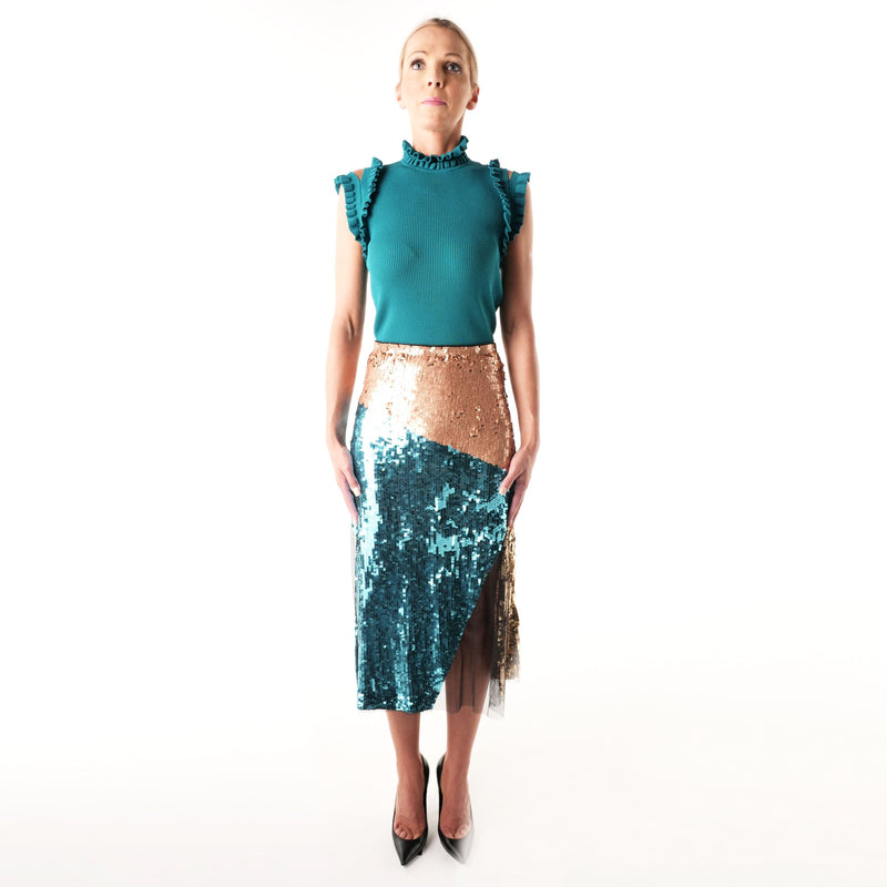 Peacock /Blush Embroidered Skirt