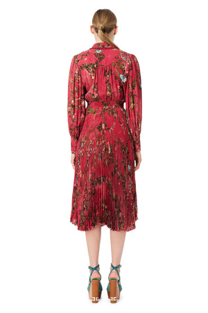 Raspberry Long Sleeve Ramage Print Plisse Skirt Dress