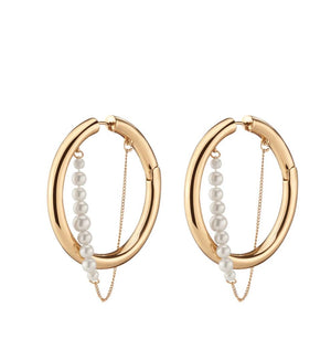 Gold pearl Riley Hoops