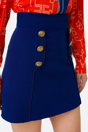 Navy Miniskirt with Buttons