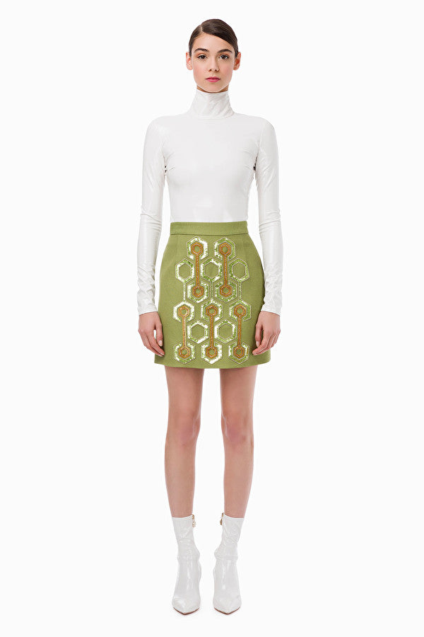 Green Embroidered Mini Skirt