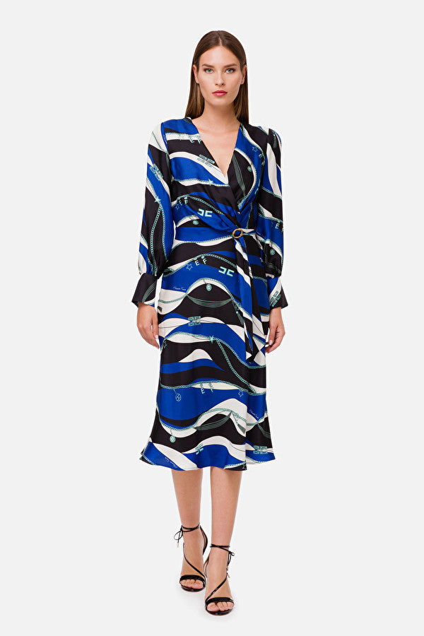 Cobalt Blue Print Silk Dress with Sleeves