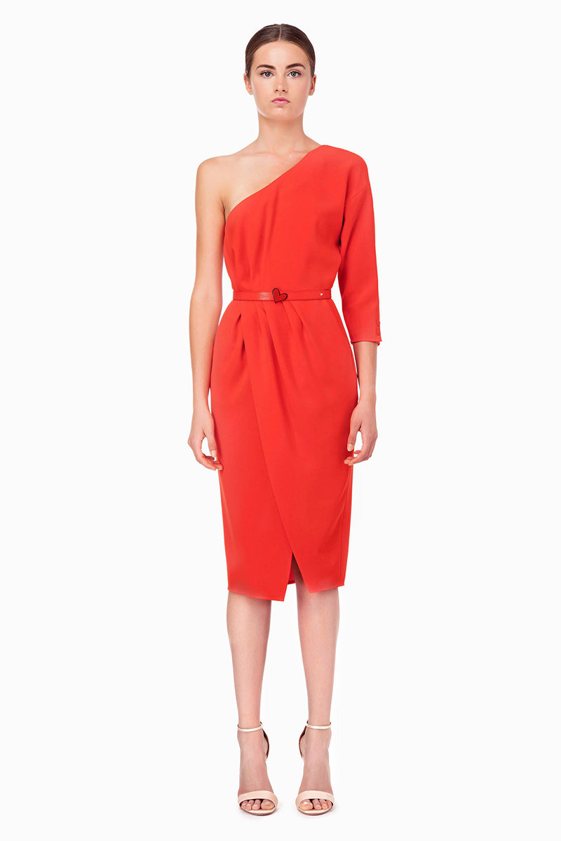 Red One Shoulder Dress with a Belt