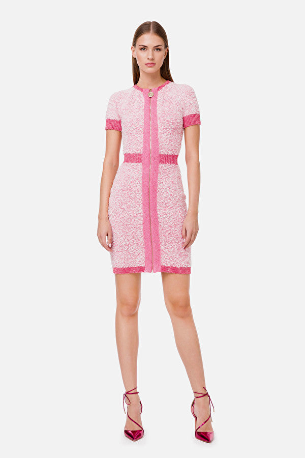Pink Short Knit Dress with Zip