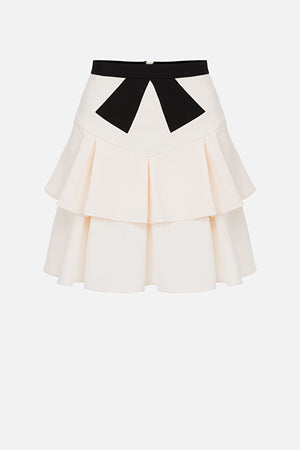 Rose Gold/Amaranto Flounce Skirt with Ribbon