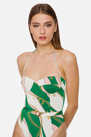 Green/ Rose One Piece Swimsuit with Belt