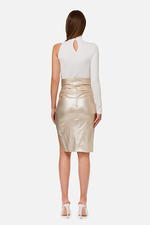 Gold Crepe Skirt with Slit