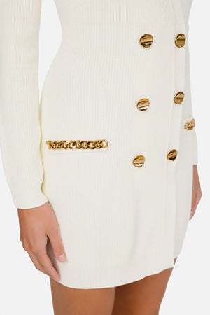 Ivory Knit Dress with Chain details