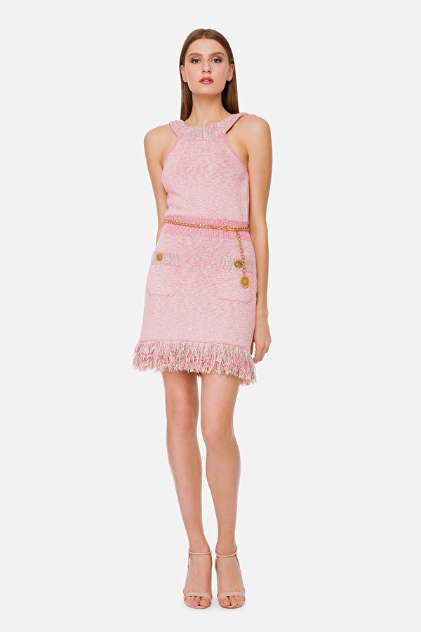 Pink Knit Dress with Fringes and Chain Belt
