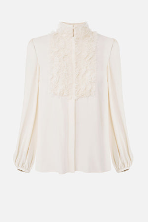 Ivory Georgette Blouse with Lace ruffles