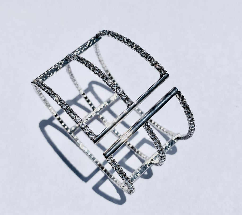 White gold Triple Single row bracelet