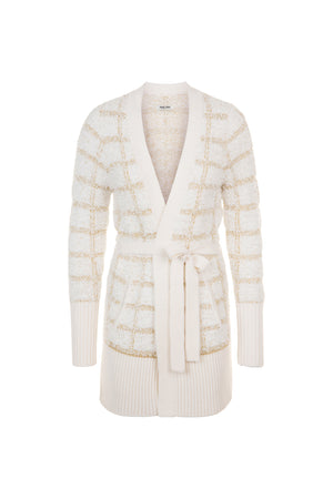 White and Gold Fancy Mesh Mid-Length Cardigan