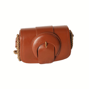 Cinnamon Small Vegan Leather Bag with Maxi Buckle