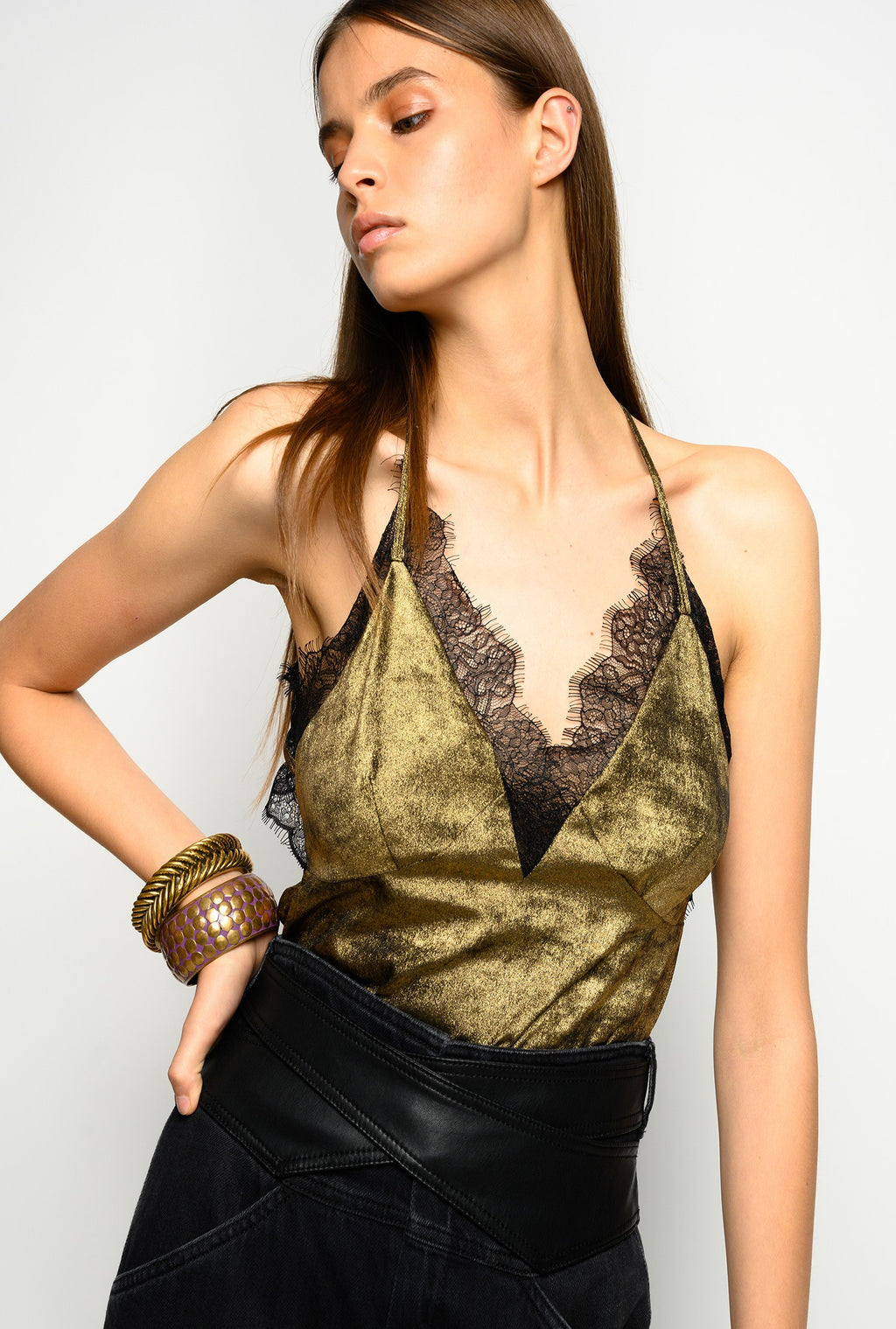 Metallic Gold Translucent Laminated Lingerie Top