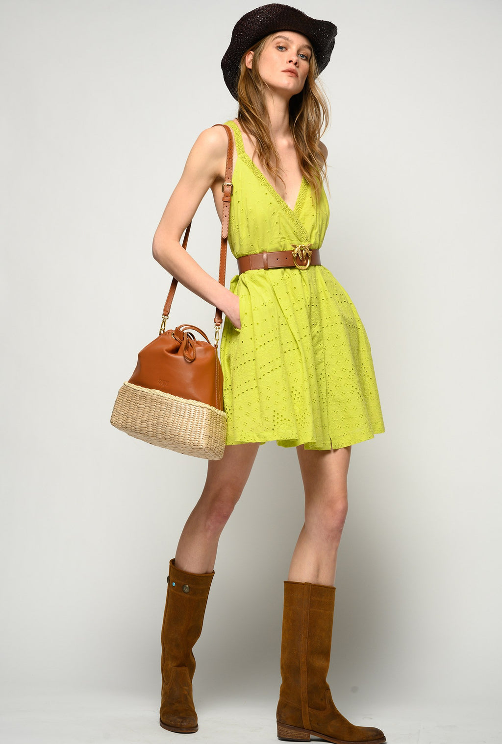 Lime green eyelet cotton Anglaise  Dress