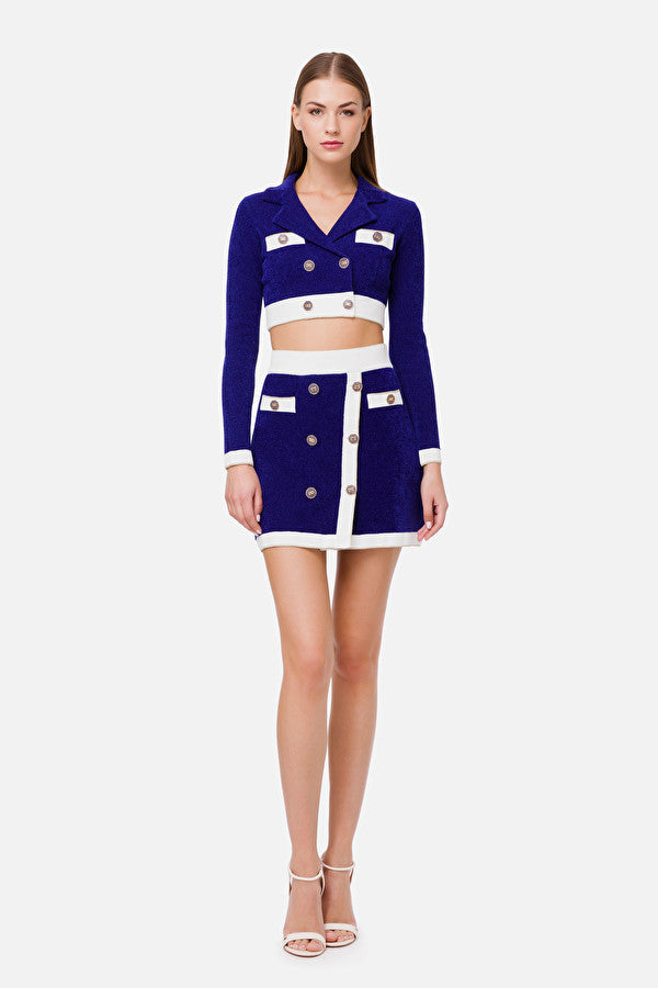 Cobalt Blue Mini Skirt with Buttons