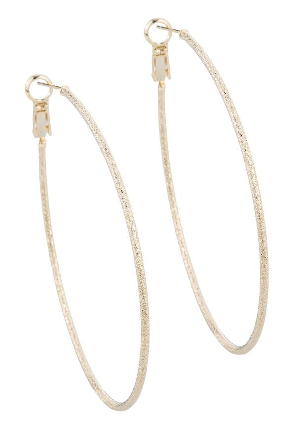 Gold Diamond Dust Tear Drop Hoops