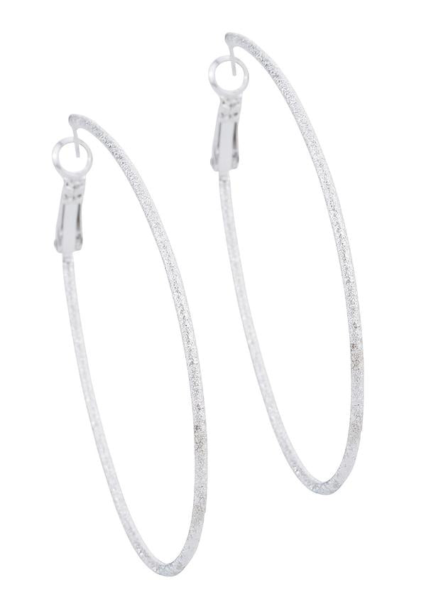 White Gold Diamond dust Tear Drop Hoops