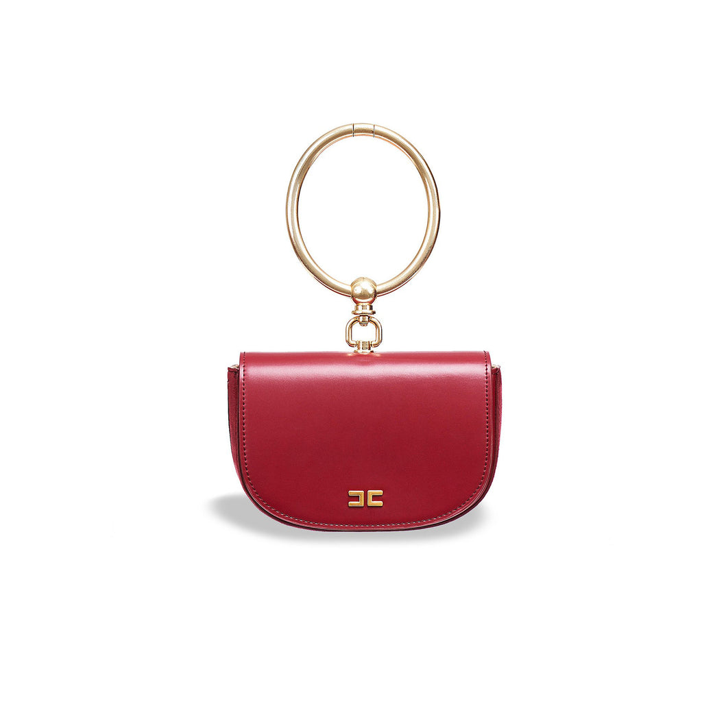 Burgundy Small Bag with a Ring Handle