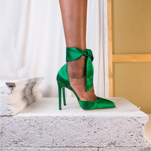 Emerald Green Satin Bow and Gold Crown Pumps