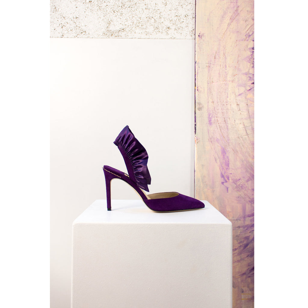 Purple Marie Antoinette Gold Crown Pump