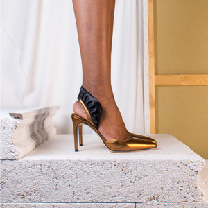 Metallic Bronze Marie Antoinette Gold Crown Pump