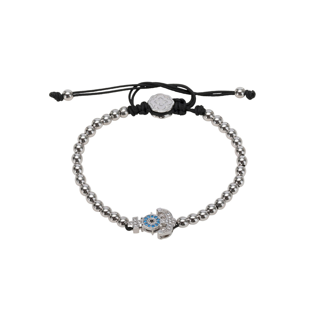 Rhodium Anchor Bracelet