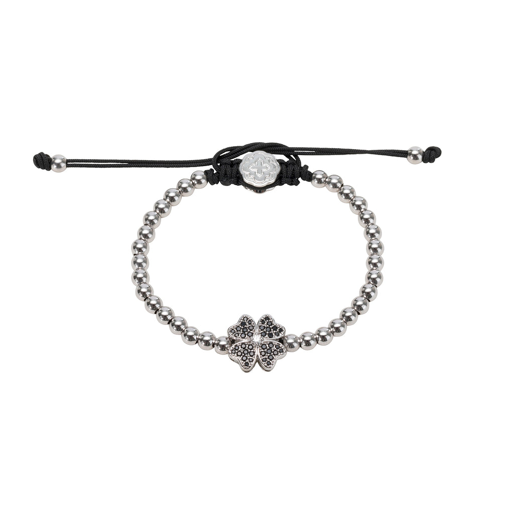 Rhodium Four Leaf Clover Bracelet