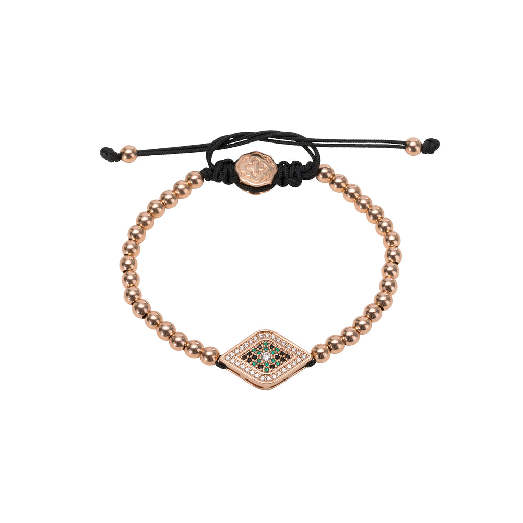 Rose Gold  Green Evil Eye Bracelet