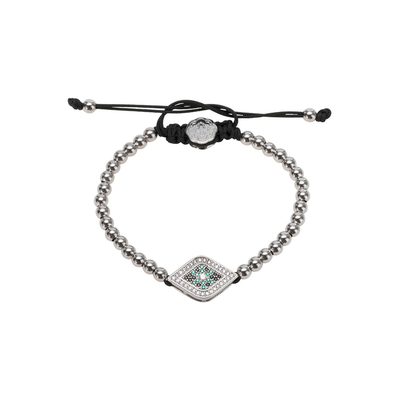 Rhodium Green Evil Eye Bracelet