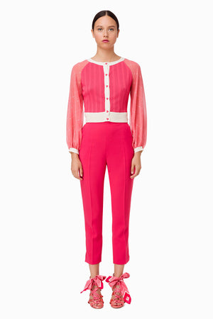 Bougainvillea Cigarette Pants with Slits and Pockets