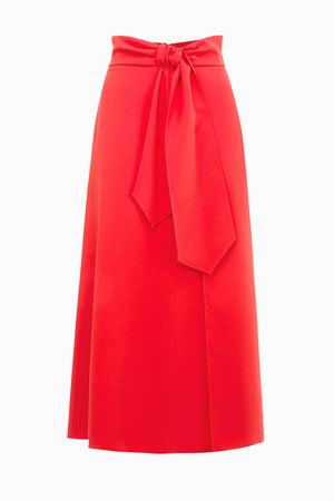 Red Skirt with Knot at the waist
